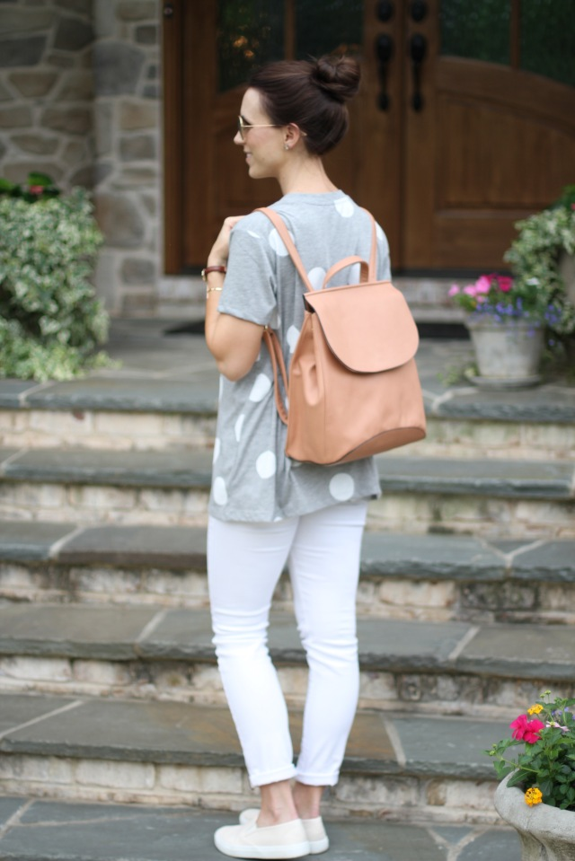 faux leather backpack; maternity white jeans outfit