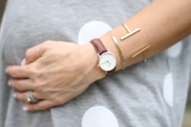 daniel wellington watch, engraved name bracelet