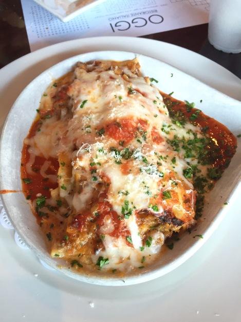 lasagna from nice Italian restaurant in Charlotte, OGGI