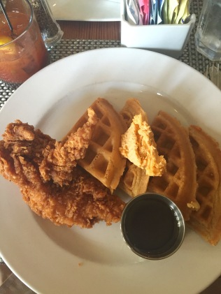 brunch at Poogan's Porch in Charleston, SC; chicken and waffles