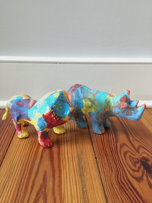Target craft paper mache animals to paint for kids; kids craft idea